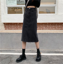 skirt Summer 2021 S,M,L black Mid length dress commute High waist A-line skirt Solid color Type A 18-24 years old sg3284 71% (inclusive) - 80% (inclusive) Denim Other / other other pocket Korean version