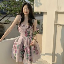 Dress Summer 2021 Decor S, M Short skirt singleton  Sleeveless High waist Decor zipper other camisole 18-24 years old Type A Other / other ZXJ6368 30% and below Chiffon other