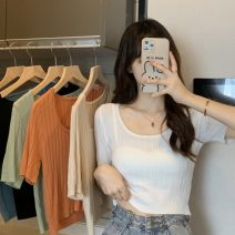 T-shirt Sapphire blue, apricot, orange, light green, white, black Average size Summer 2021 Short sleeve One word collar Self cultivation have cash less than that is registered in the accounts Sweet other 51% (inclusive) - 70% (inclusive) 18-24 years old Other / other ysg7563 college