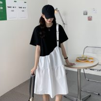 Dress Summer 2021 White on the top and black on the bottom, black on the top and white on the bottom Average size Miniskirt singleton  Short sleeve commute Crew neck other Socket routine 18-24 years old Type A Other / other Korean version Splicing ysg7533 30% and below other