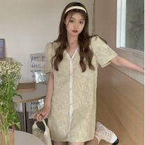 Dress Summer 2021 Short skirt singleton  Short sleeve V-neck Loose waist lattice Condom other routine Others 18-24 years old Type H Other / other ZXJ6751 30% and below other other Average size Apricot, blue