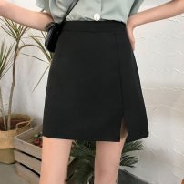 skirt Summer 2021 S,M,L,XL Apricot, black Short skirt commute High waist A-line skirt Solid color 18-24 years old Z494 Other / other Korean version