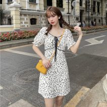 Dress Summer 2021 Graph color M, L Short skirt singleton  Short sleeve commute square neck High waist zipper A-line skirt puff sleeve 18-24 years old Other / other Korean version zym14075 51% (inclusive) - 70% (inclusive)