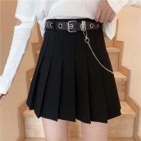 skirt Summer 2021 S,M,L,XL Black with belt, gray with belt Short skirt Versatile High waist Pleated skirt lattice Type A 18-24 years old ZXJ5957 30% and below