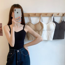 Vest sling Summer 2021 Apricot, grey, white, black Average size singleton  have cash less than that is registered in the accounts Self cultivation Versatile camisole Solid color 18-24 years old 30% and below other ZXJ4696 Other / other backless