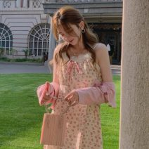 Fashion suit Spring 2021 Average size Sling, dress, pink cardigan 18-25 years old Other / other zym14037 96% and above polyester fiber