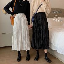 skirt Summer 2021 Average size White, black, khaki Mid length dress commute High waist Pleated skirt Solid color Type A 18-24 years old H440# Korean version