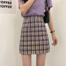 skirt Summer 2021 S,M,L,XL Orange, purple, green, black Short skirt Versatile High waist A-line skirt lattice Type A 18-24 years old LXJ3995 30% and below other Other / other other