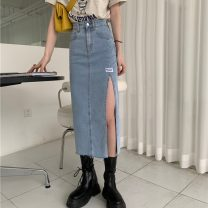 skirt Summer 2021 S,M,L blue Mid length dress Versatile High waist Denim skirt Solid color Type A 18-24 years old ZXJ6284 30% and below Denim Other / other other Button