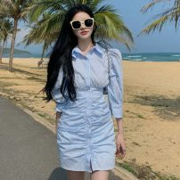 Dress Summer 2021 White, stripe S,M,L Short skirt singleton  elbow sleeve commute Polo collar High waist Solid color Single breasted One pace skirt routine 18-24 years old Other / other Korean version zipper ysg8174 30% and below other other