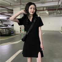 Dress Summer 2021 black Average size Short skirt singleton  Short sleeve street Polo collar High waist Solid color Socket other 18-24 years old Other / other lym14748 30% and below