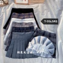 skirt Summer 2021 S,M,L,XL Gray, white, black, purple grid, gray grid, blue grid, Navy grid Short skirt commute High waist 18-24 years old XS5869 Korean version