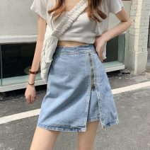 skirt Summer 2021 S,M,L White, blue, black Short skirt Versatile High waist A-line skirt Solid color Type A 18-24 years old ZXJ5595 30% and below other Other / other other