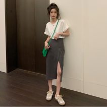 Fashion suit Summer 2021 S. M, average size White T-shirt, dark grey skirt, black skirt 18-25 years old Other / other ysg7566