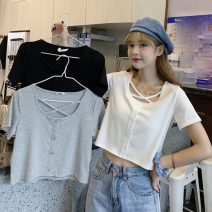 T-shirt Gray, white, black M,L,XL Summer 2021 Short sleeve square neck Self cultivation have cash less than that is registered in the accounts routine commute cotton 86% (inclusive) -95% (inclusive) 18-24 years old Korean version originality Other / other lym15324