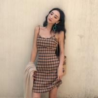 Dress Summer of 2018 coffee S M Short skirt singleton  Sleeveless commute Crew neck High waist lattice Socket other camisole 18-24 years old Korean version K1145