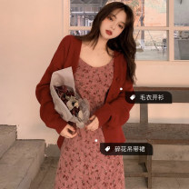 Fashion suit Autumn of 2019 Average size Red sweater coat, red floral suspender skirt 18-25 years old Other / other 30% and below