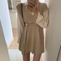 Fashion suit Winter 2020 Average size White shirt, black knitting skirt, apricot knitting skirt, gray knitting skirt, blue shirt 18-25 years old 71% (inclusive) - 80% (inclusive)
