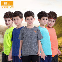 Children's quick drying T-shirt other Fluorescent green dark grey royal blue bright orange dark green Unisex for women and men Orange fire 130 140 150 160 170 Class B Air permeability and quick drying Polyester 95% polyurethane elastic fiber (spandex) 5%