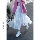 skirt Spring 2021 Average size Off white, dark blue, black, light brown, light khaki Mid length dress Versatile High waist Pleated skirt Solid color Type A 71% (inclusive) - 80% (inclusive)