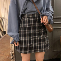 Women's large Winter of 2019, autumn of 2019 Black and white, yellow M [recommended 90-100 kg], l [recommended 100-120 kg], XL [recommended 120-140 kg], 2XL [recommended 40-160 kg], 3XL [recommended 160-180 kg], 4XL [recommended 180-200 kg] skirt singleton  commute Straight cylinder moderate lattice