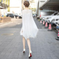 Dress Summer 2021 white S,M,L,XL,2XL Middle-skirt singleton  Short sleeve street Crew neck Loose waist Solid color Socket A-line skirt Bat sleeve Others 30-34 years old Type A Embroider, nail bead Chiffon Europe and America