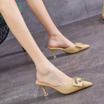 slipper 34,35,36,37,38,39 Other / other Yellow, black, beige Fine heel High heel (5-8cm) PU Summer 2021 Baotou rubber office Europe and America Adhesive shoes Youth (18-40 years old) Solid color Shallow mouth, bow, Rhinestone, metal decoration, Roman style PU PU Shaving