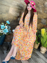 Women's large Spring 2021 Decor Big size average Dress singleton  commute easy thin Socket elbow sleeve Decor Retro Crew neck silk printing and dyeing routine CC2118 30-34 years old tie-dyed 91% (inclusive) - 95% (inclusive) longuette Ruffle Skirt