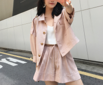 Fashion suit Spring 2020 XS.,S.,M. Pink top, deep Khaki top, green top, light Khaki top, pink pants, deep khaki pants, green pants, light khaki pants, pink shorts, deep Khaki Shorts, green shorts, light khaki shorts 25-35 years old