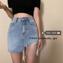 skirt Summer 2021 S,M,L blue Short skirt commute High waist skirt Solid color Type A 18-24 years old 31% (inclusive) - 50% (inclusive) Asymmetry Korean version