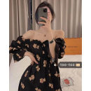 Dress Spring 2021 Black, apricot Average size Mid length dress singleton  elbow sleeve commute One word collar High waist other Socket A-line skirt puff sleeve Others 18-24 years old Type A Korean version Frenulum 51% (inclusive) - 70% (inclusive)