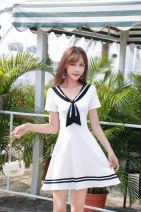 Dress Spring 2020 White, black, red S,M,L,XL Middle-skirt singleton  Short sleeve commute V-neck middle-waisted Solid color Socket Big swing routine Others 18-24 years old Type A Korean version