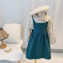 Dress Floral Top + suspender skirt female Other / other 90cm,100cm,110cm,120cm,130cm,140cm Cotton 100% spring and autumn commute Long sleeves Solid color knitting A-line skirt Class A 18 months, 2 years old, 3 years old, 4 years old, 5 years old, 6 years old, 7 years old, 8 years old Chinese Mainland