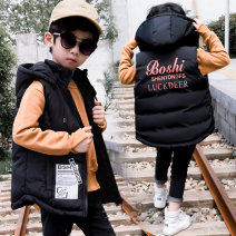 Vest male Black, Navy, one size smaller 110cm,120cm,130cm,140cm,150cm,160cm,170cm,180cm Doctor prodigy winter routine There are models in the real shooting zipper leisure time Cotton blended fabric Solid color Polyester 100% Class C Silk floss Cotton liner
