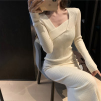 Dress Spring 2021 Apricot, black, coffee, purple [short], black [short], coffee [short], red apricot [short] S,M,L,XL longuette singleton  Long sleeves commute Slant collar High waist Solid color Socket Irregular skirt routine Others 18-24 years old Type H Other / other Korean version Asymmetry other