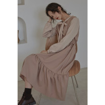 Dress Winter of 2019 Color matching S,M,L,XL Mid length dress singleton  Long sleeves commute other Loose waist Solid color Socket A-line skirt bishop sleeve Others Type A Other / other Korean version Bowknot, lace up, stitching 30% and below other