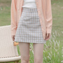 skirt Summer 2021 S,M,L,XL yellow Short skirt commute High waist A-line skirt lattice Type A 18-24 years old 30% and below other other Korean version