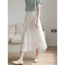 skirt Summer 2020 Average size white Mid length dress commute High waist A-line skirt Solid color Type A 30% and below other Other / other other Lace Korean version