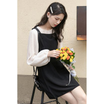 Dress Autumn 2020 Average size longuette Two piece set Long sleeves commute Crew neck High waist Solid color Socket A-line skirt routine camisole 18-24 years old Type A Other / other Korean version 30% and below other polyester fiber
