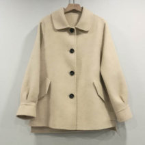 woolen coat Winter 2020 L Beige Cashmere 95% and above Medium length commute Single breasted routine Solid color Straight cylinder Korean version 25-29 years old Solid color