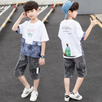 suit San Xing White, red, black 120cm 130cm 140cm 150cm 160cm 170cm male summer leisure time Short sleeve + pants 2 pieces Thin money There are models in the real shooting Socket nothing Solid color other Expression of love Class B Other 100% Summer 2020 Chinese Mainland