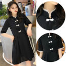 Women's large Summer 2021 black M. Large L, large XL, 2XL, 3XL, 4XL Dress singleton  Self cultivation thin Socket Solid color Medium length 18-24 years old Middle-skirt other Three buttons