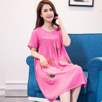 Nightdress Other / other Simplicity Short sleeve Leisure home Middle-skirt summer Solid color middle age Crew neck viscose  printing More than 95% 200g and below