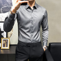 shirt Fashion City Yidige M L XL 2XL 3XL Dark grey light grey white black routine Pointed collar (regular) Long sleeves Self cultivation Other leisure spring youth Polyester 93% polyurethane elastic fiber (spandex) 7% Business Casual 2021 Solid color Color woven fabric Spring 2021 No iron treatment