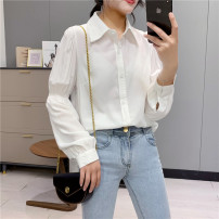 shirt white M,L,XL Spring 2021 other 30% and below Long sleeves commute Regular Single row multi button other Solid color 18-24 years old Straight cylinder Babaon Korean version