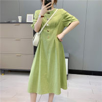 Dress Summer 2021 Green, purple S, M Mid length dress singleton  Short sleeve commute Crew neck other puff sleeve Others 25-29 years old Type A Babaon Korean version 30% and below other other