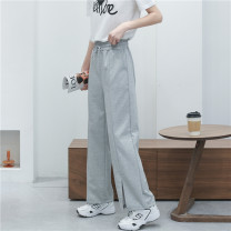 Casual pants Black, gray M, L Spring 2021 trousers Wide leg pants High waist commute routine 18-24 years old 30% and below Babaon other Korean version