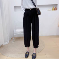 Casual pants black M,L,XL,2XL Spring 2021 trousers Haren pants Natural waist commute routine 18-24 years old 30% and below Babaon other