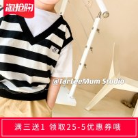 T-shirt Black and white bar Other / other 90cm,100cm,110cm,120cm,130cm,140cm male summer Short sleeve Crew neck There are models in the real shooting nothing Pure cotton (100% cotton content) stripe 18 months, 2 years old, 3 years old, 4 years old, 5 years old, 6 years old, 7 years old