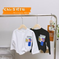 T-shirt White, black Other / other 90cm,100cm,110cm,120cm,130cm,140cm male spring and autumn Long sleeves Crew neck Korean version No model nothing Pure cotton (100% cotton content) Solid color 18 months, 2 years old, 3 years old, 4 years old, 5 years old, 6 years old, 7 years old